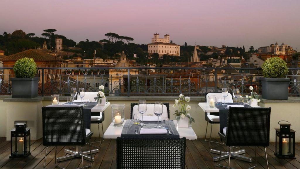 Restaurant Acquaroof avec vue panoramique sur rome